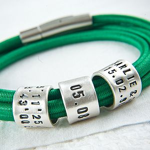 Personalised Green Storyteller Bracelet - children's jewellery