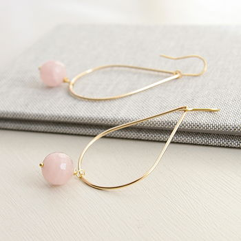 Large Two Way Rose Quartz Drop Earrings