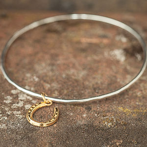 Gold Lucky Horseshoe Bangle - bracelets & bangles