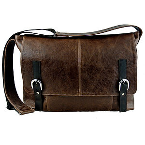 Handcrafted Leather Maxi Messenger Bag - laptop bags & cases