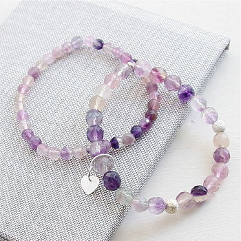 Fluorite And Silver Heart Bracelet Set