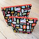 Superhero Toiletry Wash Bag - Black - All Sizes