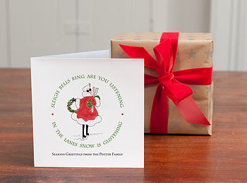 Personalised 'Sleigh Bells Christmas Cards'