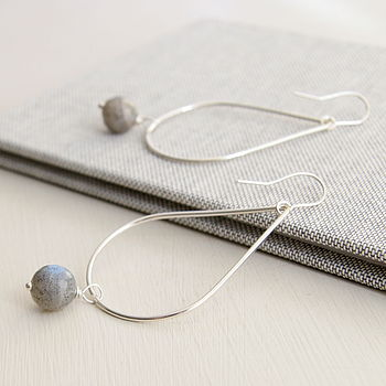 Large Two Way Faceted Labradorite Earrings