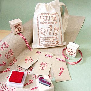 Festive Fun Rubber Stamp Set - cards & wrap