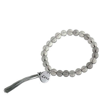 Beaded Stretch Bracelet With Charm   Silver