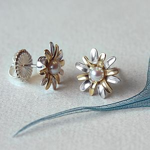 Gold, Silver And Pearl Flower Earrings - earrings