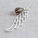 Quartz And Sterling Silver Wing Necklace
