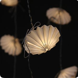 'Origami Disc' Handmade Paper Light String - lighting