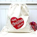 Christmas Santa Sack With Personalised Heart