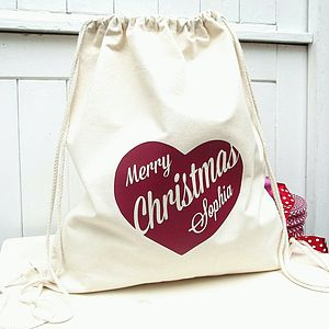 Christmas Santa Sack With Personalised Heart - stockings & sacks