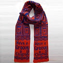 'Have A Groovy Christmas' Scarf In Orange And Blue Wool