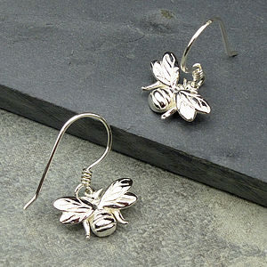 Silver Bumble Bee Earrings - earrings