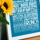 Small aqua Personalised Special Memories Print with gift message