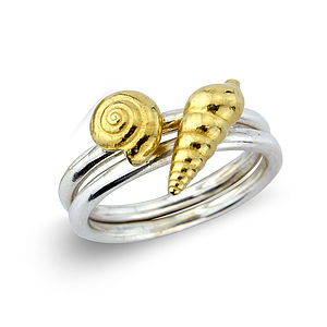 Sterling Silver Shell Ring With 22ct Gold Vermeil - rings