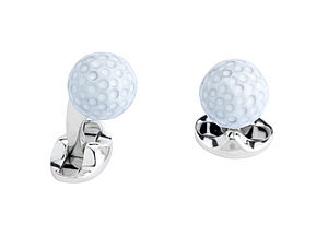 Solid Silver And Enamel Golf Ball Cufflinks
