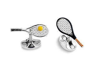 Solid Silver Tennis Racket Cufflinks