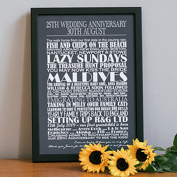 Medium charcoal Personalised Anniversary Print