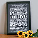 Medium - White text - Toasted Grey background - Personalised Anniversary Print