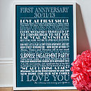Large - White text - Navy Blue background -  Personalised Anniversary Print