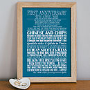 Small - White text - Aqua background - Personalised Anniversary Print