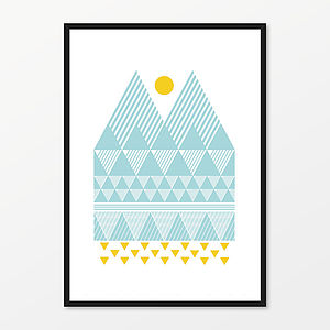 Two Peaks Screen Print - soft colour pop prints