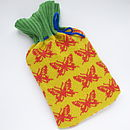 Butterfly Knitted Hot Water Bottle Cover