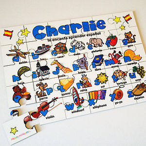 Personalised Spanish Alphabet Wooden Jigsaw Puzzle