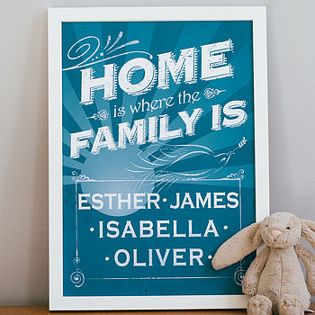 Medium aqua Personalised Home Is Where The Family Is Print