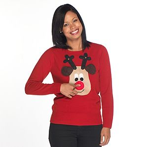 Ladies Squeaky Nose Rudolph Christmas Jumper - christmas jumpers & fancy dress
