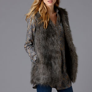 Long Faux Fur Gilet - coats & jackets