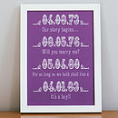 Small purple Personalised Dates Art Print