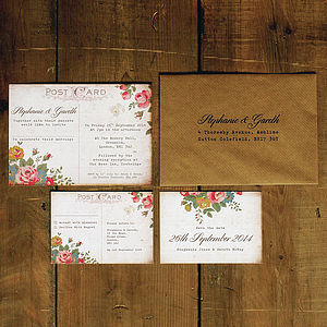 Floral Illustration Postcard Invitation - wedding stationery