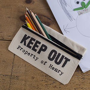Personalised Keep Out Pencil Case - back to school 2013