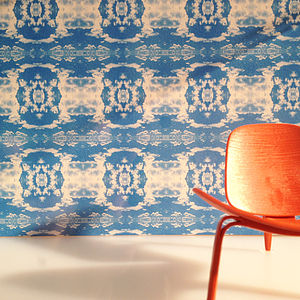 'Cloud Rococo' Wallpaper In Happy Blue - wallpaper