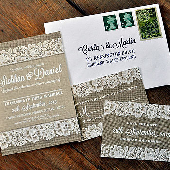 Vintage Lace Wedding Invitation Suite with Burlap Background