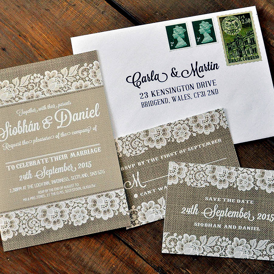 vintage lace wedding day invitation by feel good wedding invitations ...