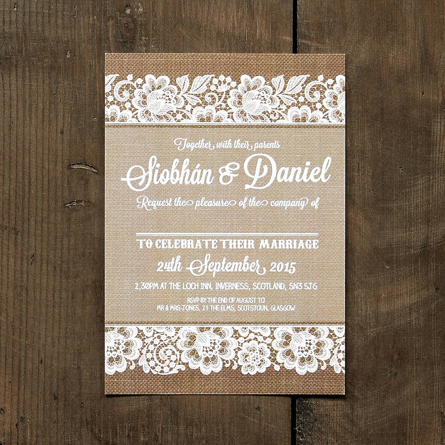 Vintage Lace Invitation With Burlap Background