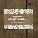 Vintage Lace Save the Date Card with Burlap Background