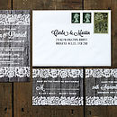 Vintage Lace Invitation Suite with Driftwood Background