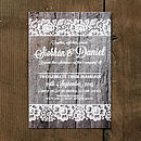 Vintage Lace Invitation with Driftwood Background