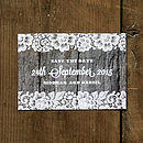 Vintage Lace Save the Date with Driftwood Background