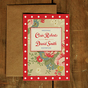 Vintage Floral Oilcloth Wedding Invitation - invitations