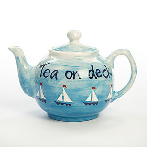 Personalised Hand Painted Boats Teapot
