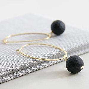 Faceted Black Matt Stone Oval Hoops - earrings