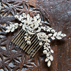 Iris Crystal Flower And Leaf Hair Comb - women's jewellery