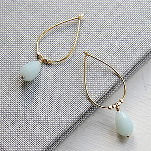 Amazonite And Gold Drop Shaped Earrings - earrings
