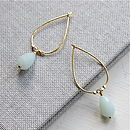 Amazonite And Gold Drop Shaped Earrings