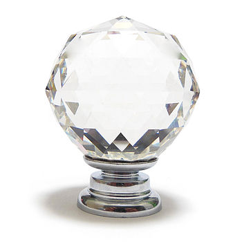 Clear Cut Crystal Ball Glass Cupboard Knob