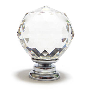Clear Cut Crystal Ball Glass Cupboard Knob - door knobs & handles